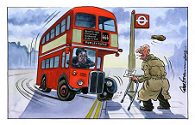 Bus warning cartoon
